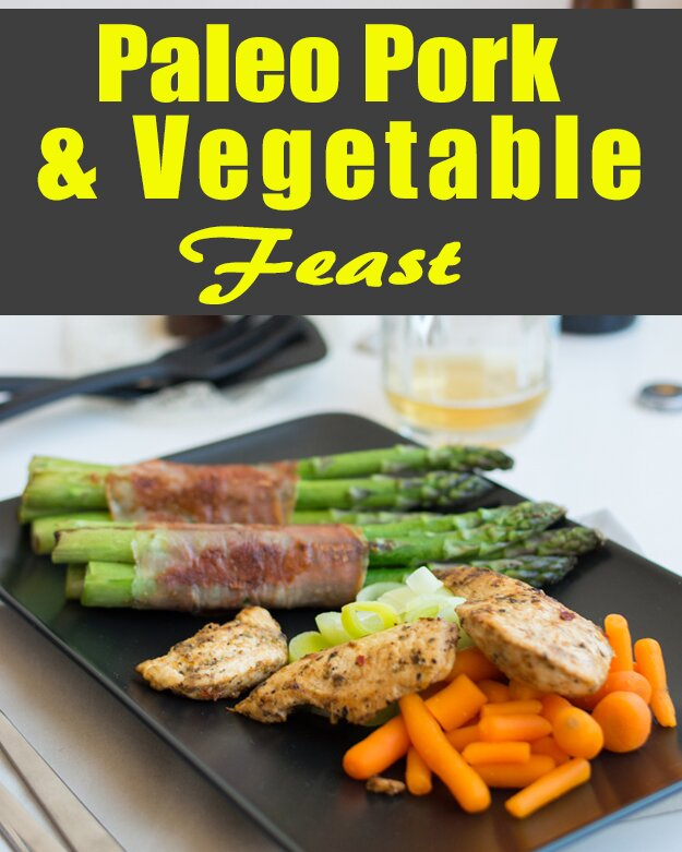On the platter for this recipe we have lovely chunks of pork steak with asparagus wrapped in bacon and some baby carrots.